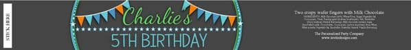 6 x Personalised Boys Bunting & Stars Happy Birthday 2 Finger KitKat Chocolate Bars Wrappers - N24
